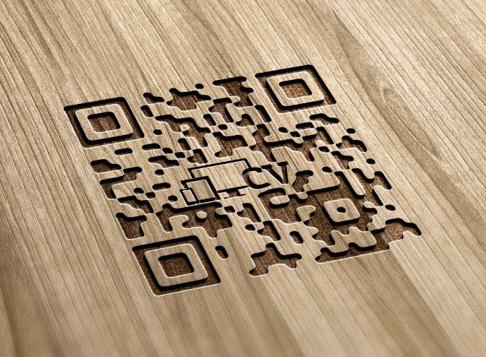Wood Engraved QR